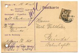 Germany 1924 Postcard Bünde - Sparkasse Der Stadt Bünde, Scott 330 - Germany