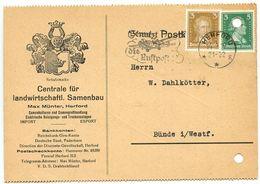 Germany 1927 Postcard Herford - Centrale Für Landwirtschaftl. Samenbau, Max Münter - Germany