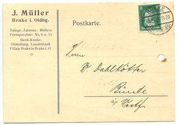 Germany 1929 Postcard Brake I. Oldbg. - J. Müller To Bünde, Scott 354 Beethoven - Germany