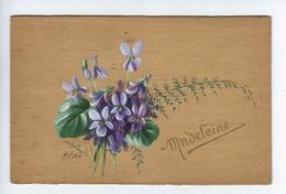 CPA Carte En Bois Dur Bouquet De Violettes Madeleine Illustrateur Héda Ou Méda - Postcards