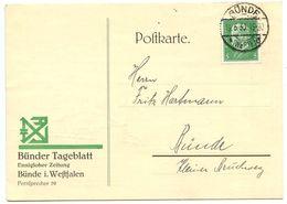 Germany 1930 Postcard Bünde - Bünder Tageblatt, Scott 368 Hindenburg - Germany