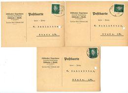 Germany 1929 3 Postcards Lübbecke - Lübbecker Lagerhaus To Bünde, 1 TPO Pmk - Germany