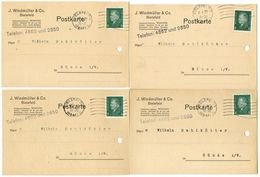 Germany 1929 4 Postcards Bielefeld - J. Windmüller & Co. To Bünde, Scott 370 - Germany