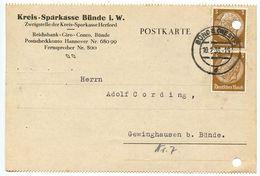 Germany 1938 Postcard Bünde - Kreis-Sparkasse Bünde, 3pf. Hindenburg X 2 - Briefe U. Dokumente