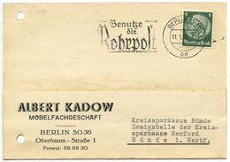 Germany 1938 Postcard Berlin To Bünde, Rohrpost Slogan Cancel - Briefe U. Dokumente