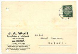 Germany 1939 Postcard Waidhaus - J.A. Wolf, Dampfsäge- & Hobelwerk Holzhandlung - Briefe U. Dokumente