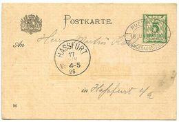 Germany - Bavaria 1896 5pf Postal Card Nuernberg To Hassfurt, Landesausstellung Postmark - Bavaria