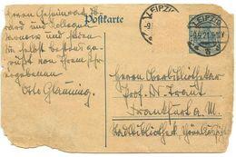 Germany 1921 30pf Postal Card Leipzig To Frankfurt A. M. - Entiers Postaux