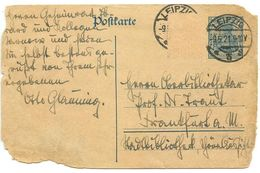 Germany 1921 30pf Postal Card Leipzig To Frankfurt A. M. - Germany