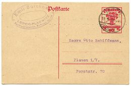 Germany 1919 10pf National Assembly Postal Card Leipzig-Plagwitz To Plauen I / V - Entiers Postaux