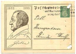 Germany 1932 Goethe Postal Card Altenburg To Bünde - Entiers Postaux