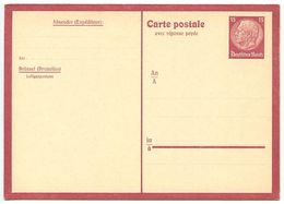 Germany 1940's Mint Luftgaupostamt - Postal Reply Card For Use In Occupied Belgium - Germany