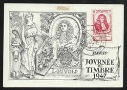 FDC Carte Maximum Premier Jour Paris 15/03/1947 N° 779 + Au Verso N°665;743 Et 754 Journée Du Timbre  B/TB Soldé ! ! ! - ....-1949