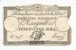 Assignat 1792 , VINGT CINQ SOLS ,25 , L'an 4 De La Liberté, Signé Hervé , Serie 741 E - Assignate