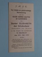 Sluier > Zuster ELISABETH Der Drieëenheid ( Van Munster ) Klooster Carmelitessen MECHELEN 19 Mei 1924 ( Zie Foto's ) ! - Religione & Esoterismo