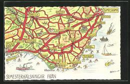 CPA Simrishamn, Carte Géographique Avec Wegenetz Zwischen Simrishamn Et Ystad - Suède
