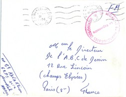 6e REGIMENT DE PARACHUTISTES COLONIAUX * 1ère Cie MARRACKECH-GUELIZ MAROC OMec Du 17-DEC 1956 - Marcophilie (Lettres)