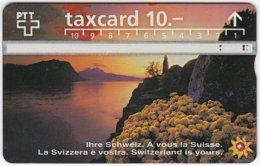 SWITZERLAND C-042 Hologram PTT - Landscape, Lake, Sunset - 605F - Used - Switzerland