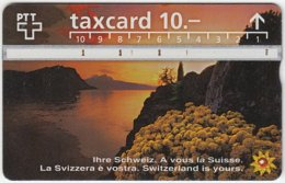 SWITZERLAND C-045 Hologram PTT - Landscape, Lake, Sunset - 604F - Used - Switzerland