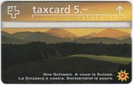 SWITZERLAND C-052 Hologram PTT - Landscape, Mountains, Sunset - 604H - Used - Switzerland