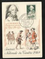Carte Maximum Premier Jour Nimes Le 26/03/1949 N°828 Journée Du Timbre+ Vignette Maison Carrée  TB  Soldé   ! ! ! - ....-1949