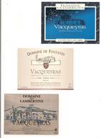 Etiquettes Vacqueyras Domaine La Garrigue Cuvée An 2000, Fontavin 2000 Et De Lambertins 2000 - Côtes Du Rhône