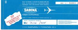 Billet Biljet Ticket Vol Sabena Bruxelles Mexico City (Aug 1974) + Pub V.I.P. Agfa Microflex Sensor - Carte D'imbarco Di Aerei