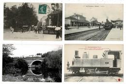 24 CP Dont Passage à Niveau Belfort+Train Aux LAUMES+Autorail Sur Pont+loco Départementale+ Marché Chevaux+ Kiosque N°50 - Postcards