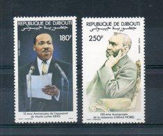 Djibouti. Poste Aérienne. 150e Anniversaire De La Naissance D'alfred Nobel. Nobel Et M L King - Djibouti (1977-...)