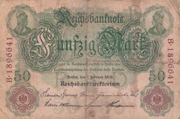 BANCONOTE - GERMANIA - IMPERO TEDESCO - REICHSBANKNOTE - 50 MARK - 1908 - [ 2] 1871-1918 : Impero Tedesco