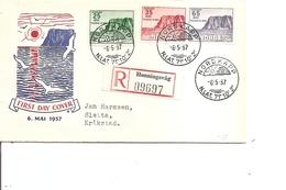 Pole Nord ( FDC De Norvège De 1957 Voyagé En Recommandé à Voir) - Polarmarken