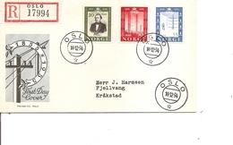 Télécom - Télégraphe ( FDC De Norvège De 1954 Voyagé En Recommandé à Voir) - Telecom