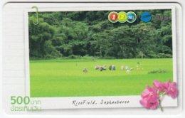 THAILAND B-831 Prepaid 1-2-call/AIS - Landscape, Ricefield, Plant, Flower - Used - Thailand