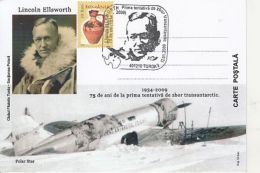 POLAR FLIGHTS, FIRST TRANS-ANTARCTIC ATEMPT, LINCOLN ELLSWORTH, SPECIAL POSTCARD, 2009, ROMANIA - Voli Polari