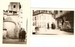 Lot De 2 Photographies Du Béarn, Oloron (64), L'abbé De Gironville Devant Sainte-Croix, 2 Cv, Photos Vers 1960 - Foto's