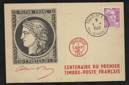 Carte N°1 20c Noir Centenaire Du Timbre Poste Editeur Union Philatélique De Toulouse Le 01/01/1949 Le N° 811 TB Soldé  ! - Storia Postale