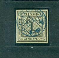 Württemberg, Wertziffer In Raute, Nr.1 A Blauer Stempel, Geprüft BPP - Wuerttemberg