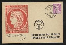 Carte N°2 1F Vermillon Centenaire Du Timbre Poste Edit. Union Philatélique De Toulouse 01/01/1949 Le N°811 TB Soldé  !F - Storia Postale