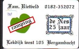 NEDERLAND CHIP TELEFOONKAART CRE 281 * CAMPING DE NES  * Telecarte A PUCE PAYS-BAS * ONGEBRUIKT MINT - Netherlands