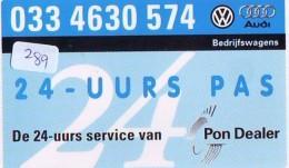 NEDERLAND CHIP TELEFOONKAART CRE 289 * VOLKSWAGEN * AUDI * CAR * VOITURE *  Telecarte A PUCE PAYS-BAS * ONGEBRUIKT MINT - Auto's