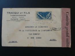 Lettre Censurée De Tahiti Avec Flamme Daguin Papeete Pli Censuré Pour L'Algérie Controle Postal Militaire 1944 - Lettres & Documents