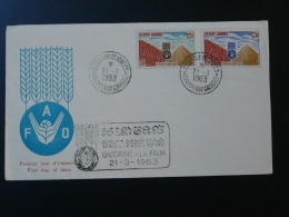 FDC Contre La Faim FAO Cambodge 1963 - Cambodia