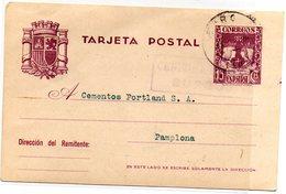 Entero  Postal Circulada Con Matasellos De Censura Militar De Burgos.1938 - 1931-Today: 2nd Rep - ... Juan Carlos I