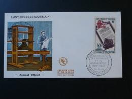 FDC Imprimerie Printing Journal Officiel St Pierre Et Miquelon 1966 - FDC