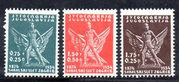 YUG44B - YUGOSLAVIA 1934 , Unificato N. 258/260  *  Sokol - Nuovi
