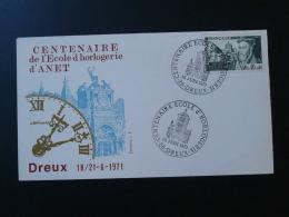 Lettre Format FDC Centenaire école Horlogerie Horology School Dreux 28 Eure Et Loir 1971 - Horlogerie