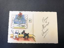 303 - BONNE ET HEUREUSE ANNE Chat Blanc & Chien Noir - 1954 - Año Nuevo