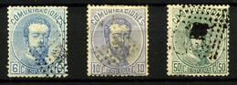 3140- España Nº 119, 121, 126 - 1872-73 Reino: Amadeo I
