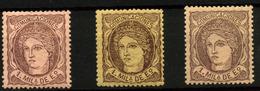 3139- España Nº 102, 102a, 102c - 1868-70 Gobierno Provisional