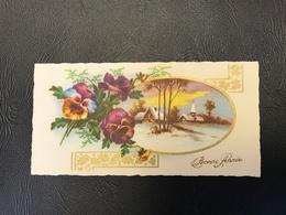 202 - BONNE ANNEE Village Enneigé Encadré Fleurs - 1954 - Neujahr